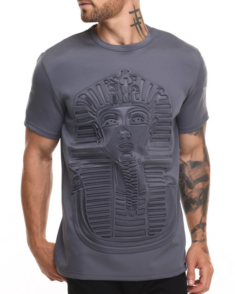 Ur-ID 220307 Hudson NYC - Men Charcoal King Tut Embossed S/S Tee