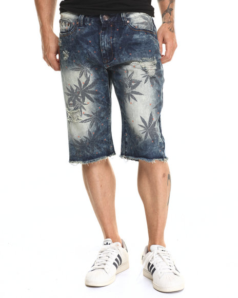 Ur-ID 220310 Buyers Picks - Men Indigo Hemp Print Denim Short
