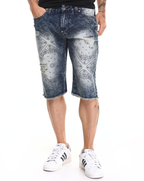 Ur-ID 220311 Buyers Picks - Men Indigo Bandana Print Denim Short
