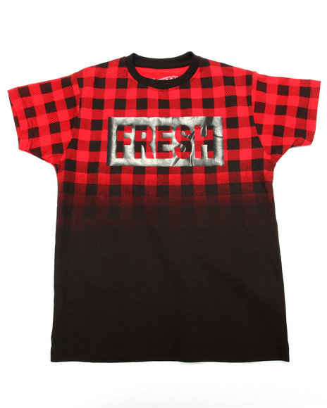 Arcade Styles - Boys Red Buffalo Check Fresh Tee (8-20)