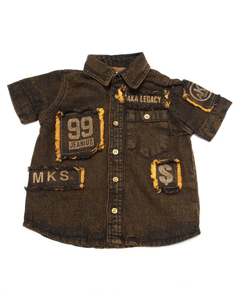 Akademiks - Boys Dark Wash S/S Denim Woven (2T-4T)
