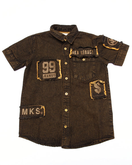 Akademiks Dark Wash Button-Downs