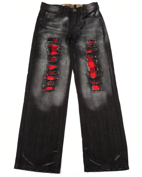 Arcade Styles - Boys Black Distressed Buffalo Check Jeans (8-20) - $33.99
