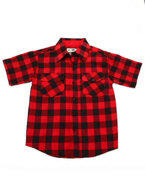 Arcade Styles - Boys Red Buffalo Check S/S Woven (8-20)