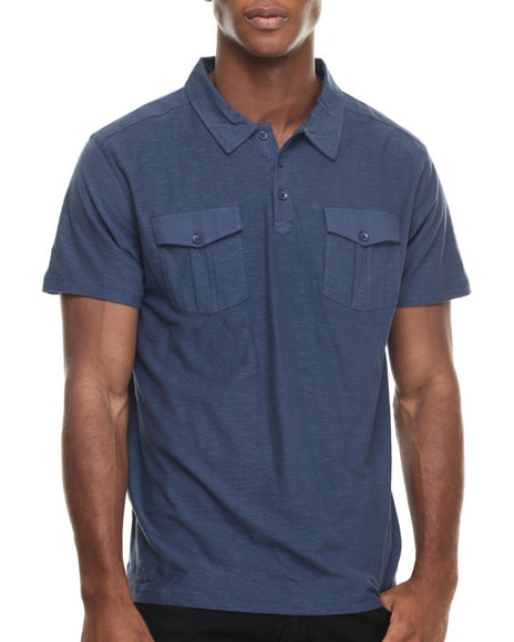 Ur-ID 220329 Buyers Picks - Men Blue S/S Pocket Polo