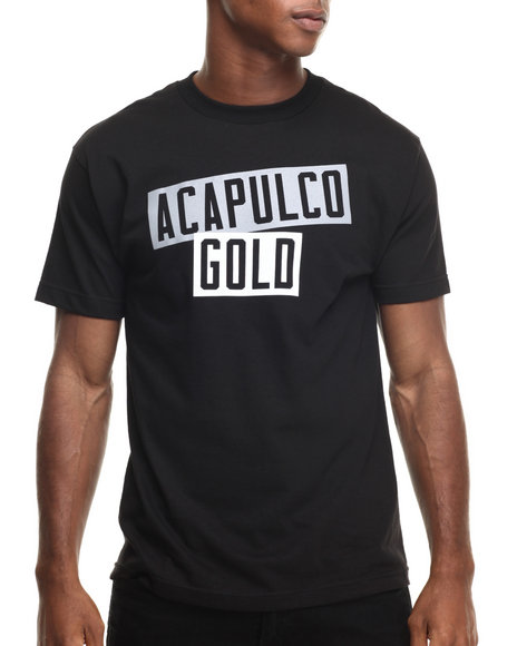 Ur-ID 220331 Acapulco Gold - Men Black Ag Stacked Tee
