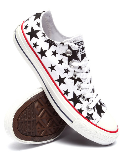 Converse Women Star Print Chuck Taylor All Star Ox Sneakers White 6.5