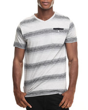 Men - S/S Slub Stripe V-Neck