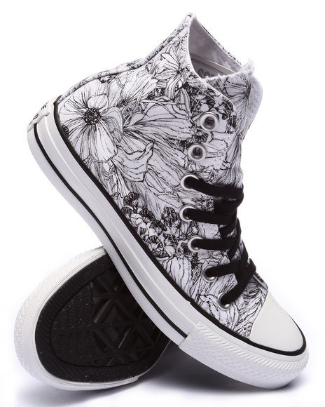 Ur-ID 220386 Converse - Women White Floral Print Chuck Taylor All Star Hi Sneakers