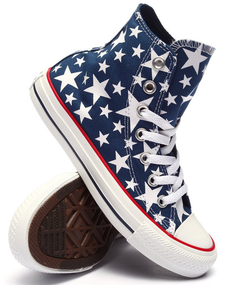 Converse Women Star Print Chuck Taylor All Star Hi Sneakers Navy 7