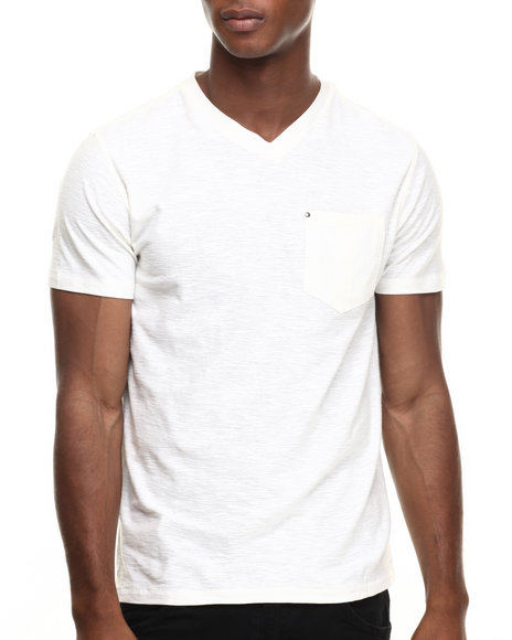 Buyers Picks - Men Off White Pocket V-Neck Tee