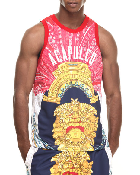 Ur-ID 220345 Acapulco Gold - Men Red Amulet Basketball Jersey