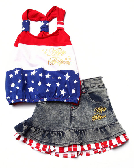Apple Bottoms - Girls Multi 2 Pc Americana Tank & Denim Skirt Set (2T-4T)