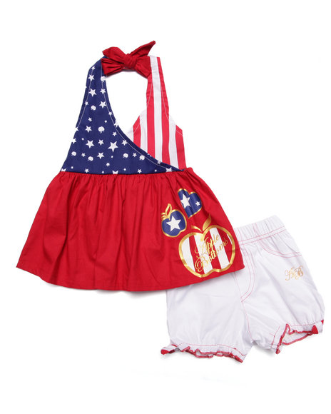 Apple Bottoms - Girls Red 2 Pc Americana Halter & Poplin Shorts (Newborn)