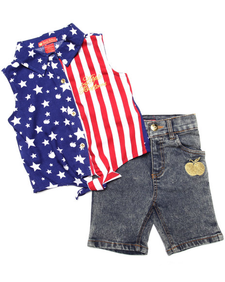 Apple Bottoms - Girls Multi 2 Pc American Woven & Denim Shorts Set (4-6X) - $10.99
