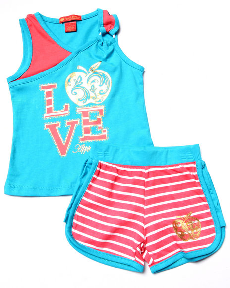 Apple Bottoms - Girls Teal 2 Pc Love Tank & Shorts (2T-4T)