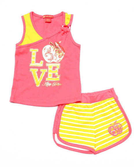 Apple Bottoms - Girls Pink 2 Pc Love Tank & Shorts (2T-4T)