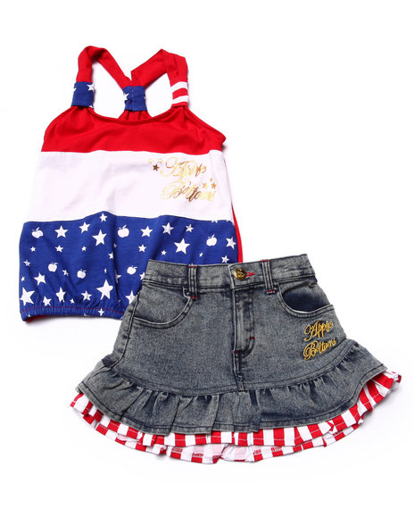 Apple Bottoms - Girls Multi 2 Pc Americana Tank & Denim Skirt Set (4-6X)