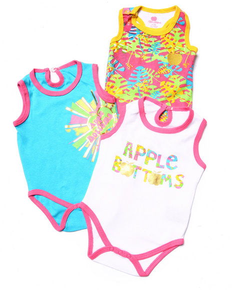 Apple Bottoms - Girls Multi 3 Pack Bodysuits (Newborn)