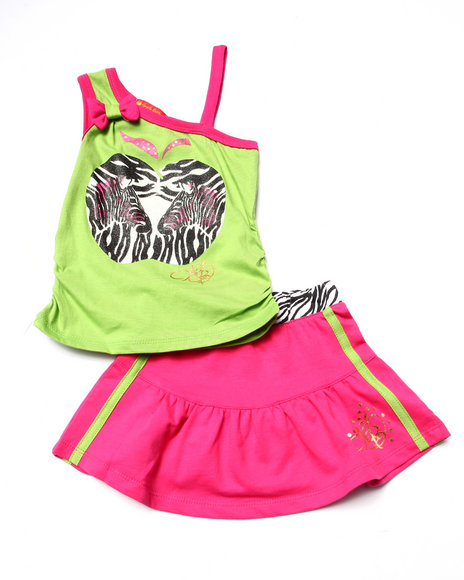 Apple Bottoms - Girls Lime Green 2 Pc Zebra Tank & Skirt (2T-4T)