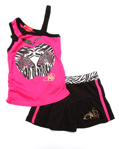 Apple Bottoms - Girls Pink 2 Pc Zebra Tank & Skirt (2T-4T)