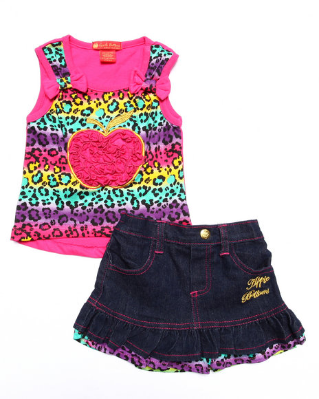 Apple Bottoms - Girls Pink 2 Pc Skirt Set (Infant)