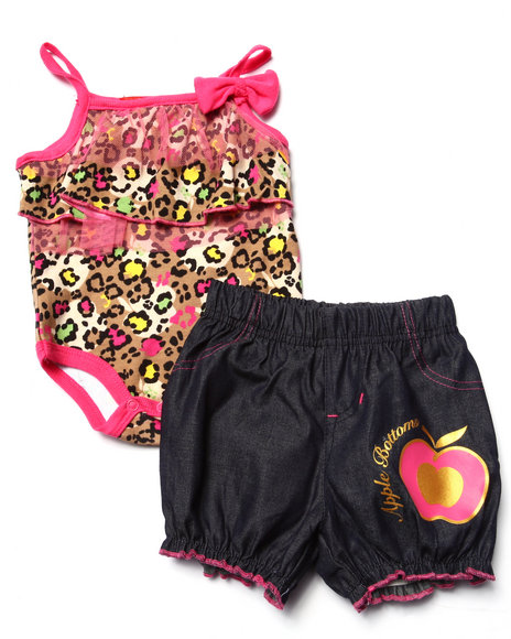 Apple Bottoms - Girls Pink 2 Pc Tulle Bodysuit & Denim Shorts (Newborn)