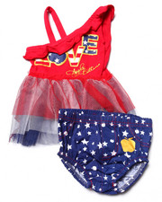 Sets - 2 PC AMERICANA TULLE TOP & POPLIN DIAPER COVER (NEWBORN)