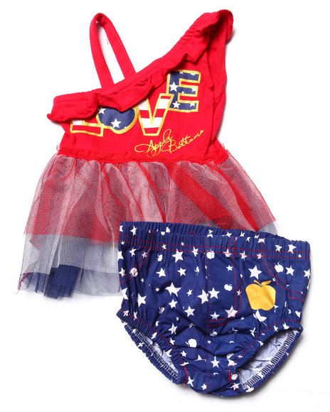 Apple Bottoms - Girls Red 2 Pc Americana Tulle Top & Poplin Diaper Cover (Newborn)