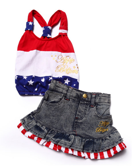 Apple Bottoms - Girls Multi 2 Pc Americana Skirt Set (Infant)