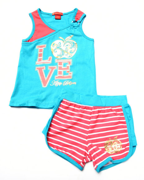 Apple Bottoms - Girls Teal,Teal 2 Pc Love Tank & Shorts (4-6X)