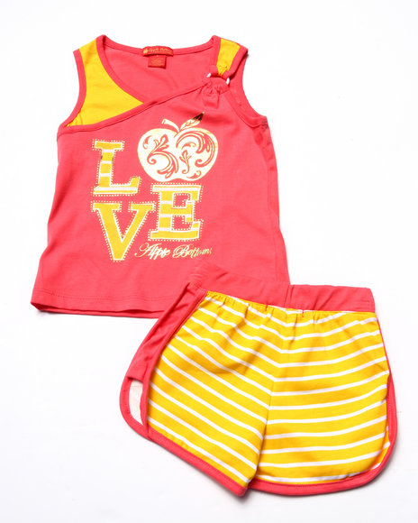 Apple Bottoms - Girls Pink 2 Pc Love Tank & Shorts (4-6X)
