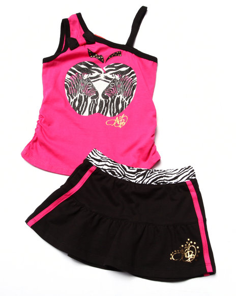 Apple Bottoms - Girls Pink 2 Pc Zebra Tank & Skirt (4-6X)