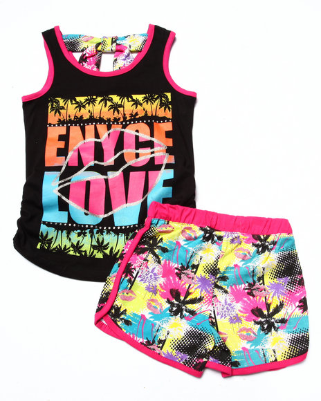 Enyce - Girls Black 2 Pc Tropical Shorts Set (7-16) - $25.99