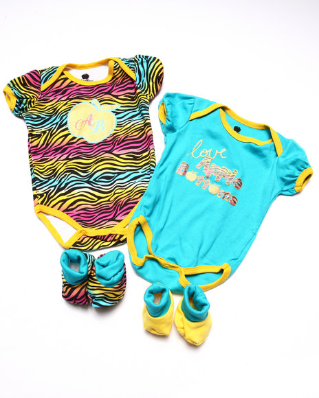 Apple Bottoms - Girls Blue 2 Bodysuits & 2 Booties Box Set (Newborn) - $10.99