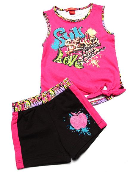 Apple Bottoms - Girls Pink 2 Pc Graffiti Tank & Shorts (4-6X)