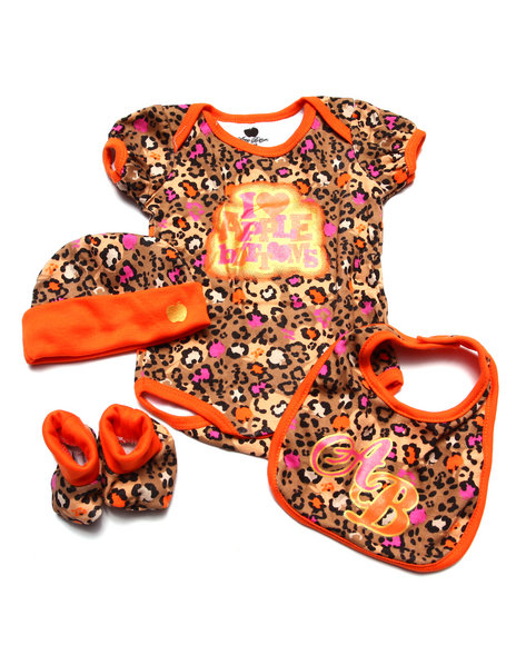 Apple Bottoms Girls Bodysuit, Booties, Bib, & Hat Boxset (Newborn) Orange 0-6 Mo