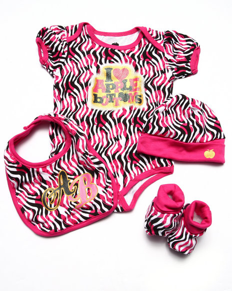 Apple Bottoms Girls Bodysuit, Booties, Bib, & Hat Boxset (Newborn) Pink 0-6 Mo