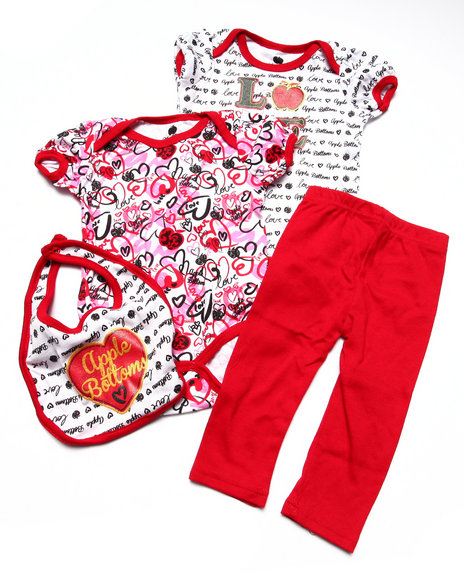 Apple Bottoms Girls 2 Bodysuits, Pant, & Bib Boxset (Newborn) Red 0-6 Mo