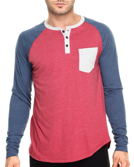 Ur-ID 220395 Buyers Picks - Men Dark Red Eagle Colorblock  Raglan Tee