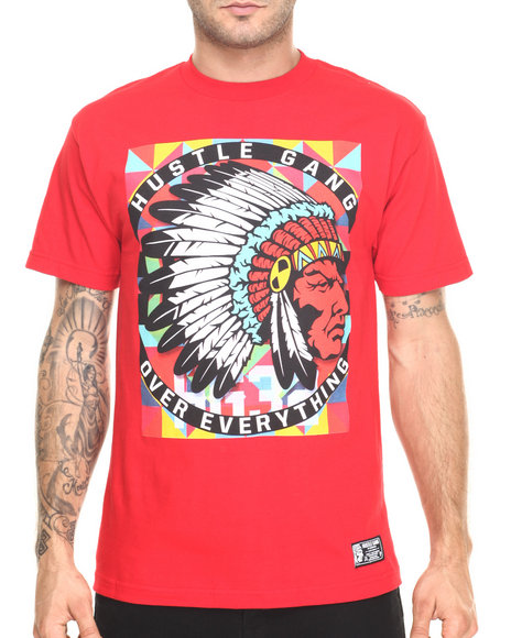 Ur-ID 220401 Hustle Gang - Men Red Hg Pop Tee