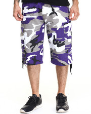 Basic Essentials - Belted Cotton Camo Cargo Shorts