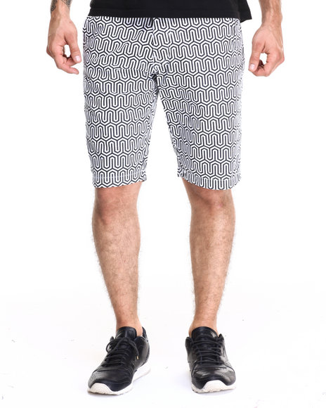 Ur-ID 220460 AKOO - Men Black,White Belvedere Twill Shorts
