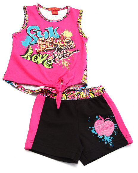 Apple Bottoms - Girls Pink 2 Pc Graffiti Tank & Shorts (2T-4T)
