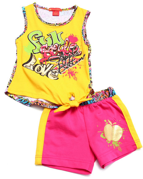 Apple Bottoms - Girls Yellow 2 Pc Graffiti Tank & Shorts (2T-4T)