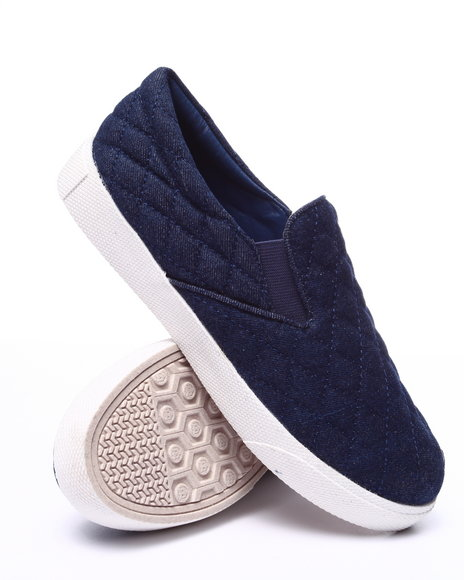 Fashion Lab - Women Navy Cole Quilted Denim Slip On Sneaker