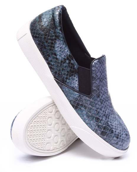 Fashion Lab - Women Navy Pivot Faux Snakeskin Slip On Sneaker