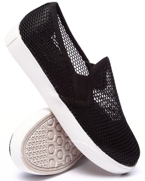 Fashion Lab - Women Black Carnegie Mesh Slip On Sneaker - $25.99