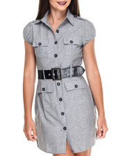 Dresses - Cap Sleeve Belted Chambray Shirt Dress