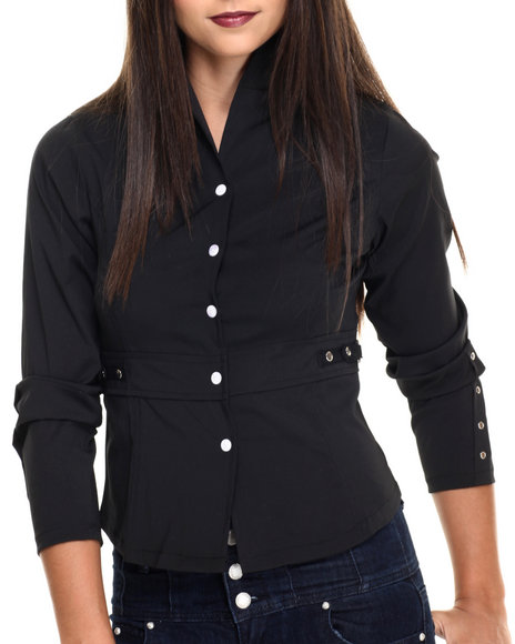 Ur-ID 220489 She's Cool - Women Black Mandarin Collar Side Pockets Jacket